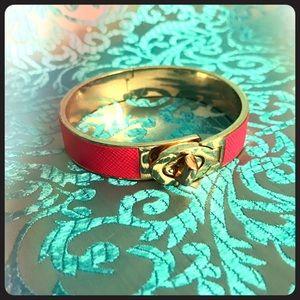 COACH Bangle Bracelet Pink and Gold